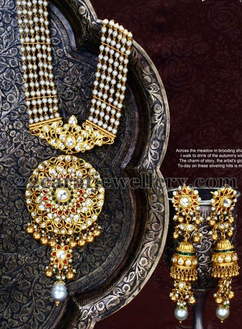 Jewellery Designs: Pearls Long Chain with Jhumkas