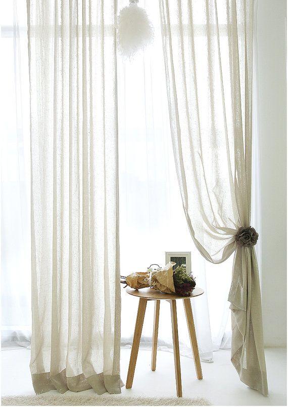 Beige Poly e lino miscela tende trasparenti, luce lino tende, tende finestra, pannelli della tenda della finestra, tende alle finestre, tende di lino