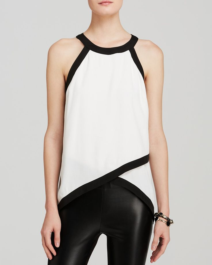 AQUA Top - Tipped Sleeveless Cross Front | Bloomingdale's
