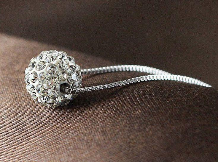 925 Sterling Silver Zircon Charm Ball Pendant Necklace Woman Fashion Jewellery