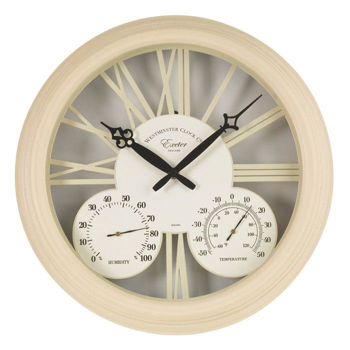 <p>Add a touch of vintage-style class to your home or garden with this interesting wall clock and thermometer. Based on vintage designs, this clock features an interesting cut-out dial design with Roman numerals, plus a traditional dial thermometer and humidity meter. Its stylish matte white finish is ideal for any contemporary living space, and its large numerals make it easy to read at a glance.