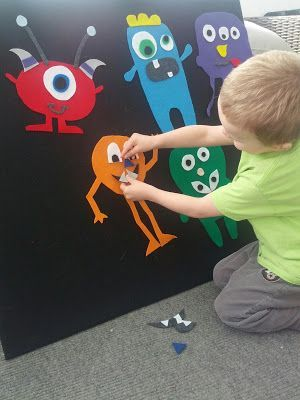 This is perfect and fun for creating your own imaginary monsters and kid friendly monsters for story time the month of October! Using felt, kids can create their own stories *skills: using pictures to interpret ideas, taking on pretend roles and situations, counting,