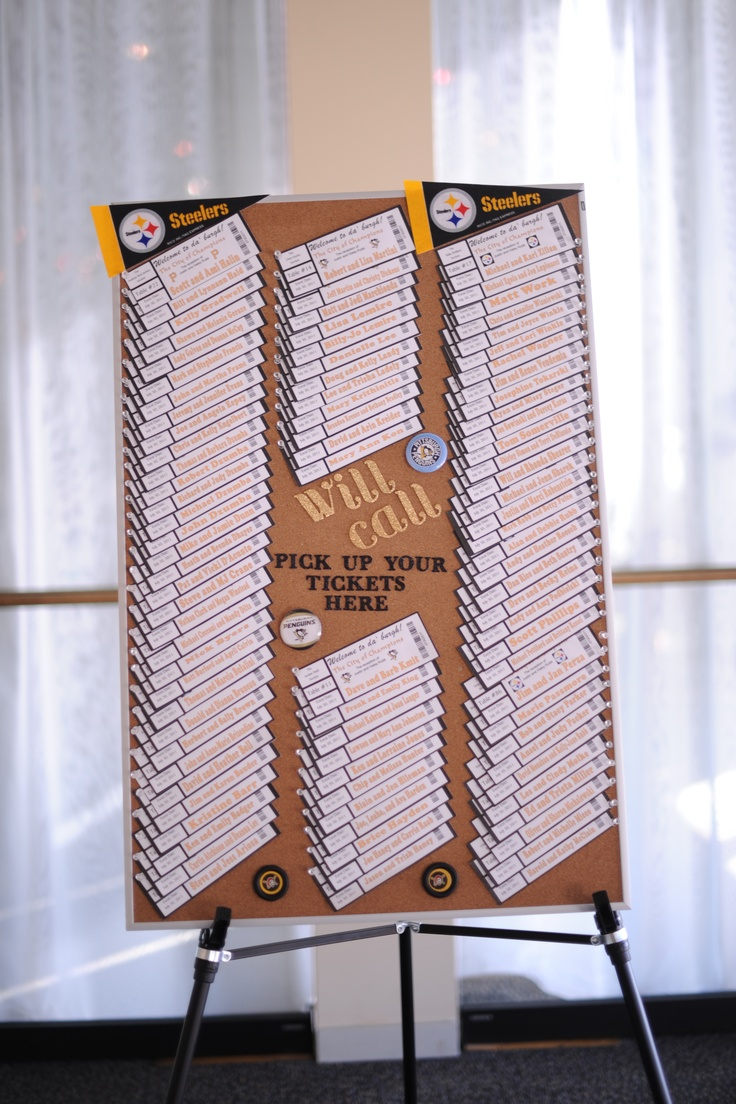 For our seating, we made sporting event tickets and name our tables after Pittsburgh sports figures.