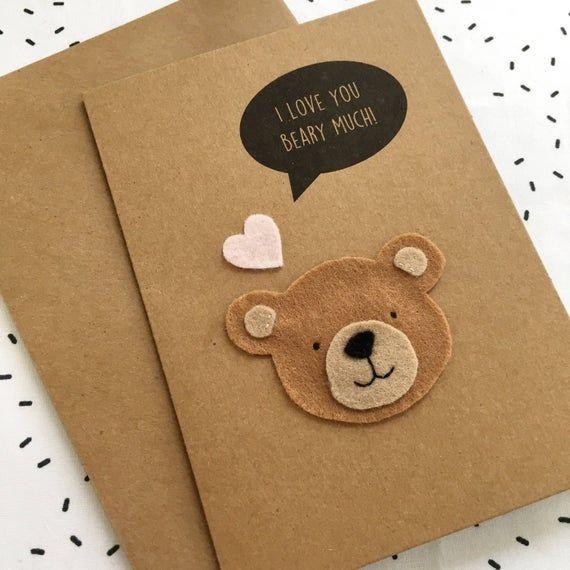 Felt Bear Pun Card I Love You Beary Much Card Teddy Bear Etsy Happy Birthday Cards Printable Birthday Cards Happy Birthday Cards