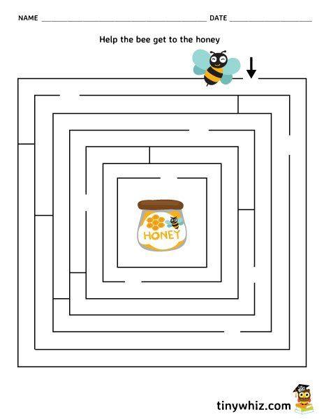 Free Worksheets kids printable worksheets : Free Printable Maze Worksheet Bee And Honey : Free ...