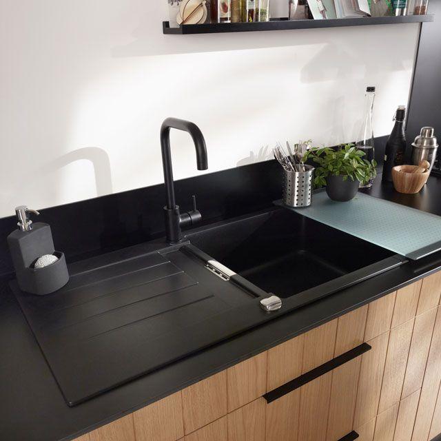 Deco Moderne De Salon : Evier à encastrer résine noir 1 cuve Alios  CASTORAMA  Décoration