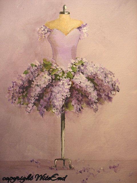 Lilac Tutu painting  original ooak ballet Flowers fantasy Ballerina costume fashion art. Cutesy but fun