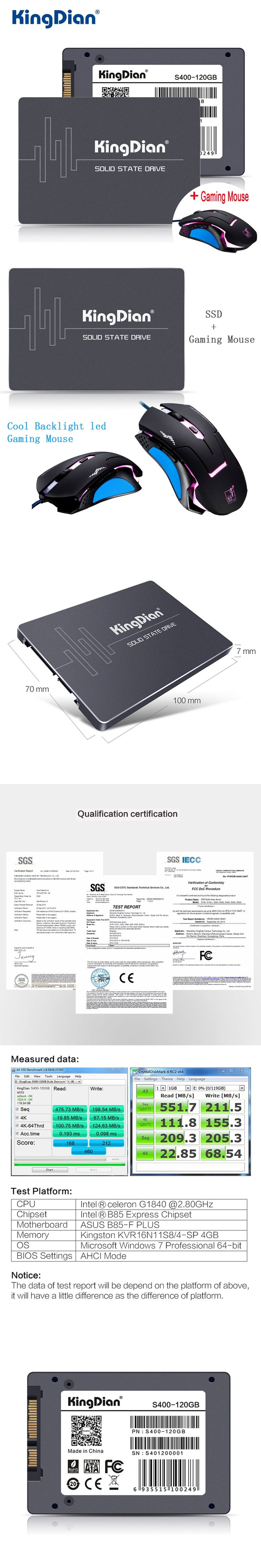 KingDian SSD 120GB S400 3 Years Warranty SATA3 2.5 inch Hard Drive Disk 120GB HD HDD Factory Directly For Computer+Gaming Mouse