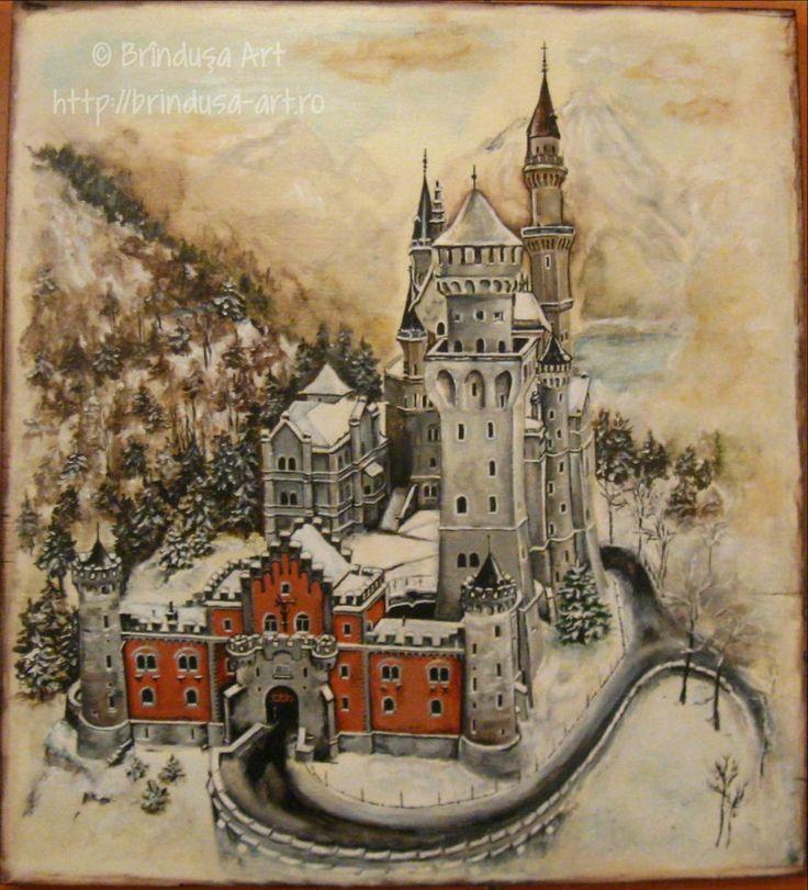 Neuschwanstein Castle – painted wooden plaque (acrylics). Inspired by a winter photo, in which it looked like a fairytale castle…   Castelul Neuschwanstein -  tablou pictat în acrilice, pe lemn. Inspirat de o fotografie făcută iarna, în care arăta ca un castel de basm…  #woodpainting #picturapelemn #castle #winter #fairytale #Neuschwanstein #castel #iarna #acrylics #acrilice #unique #unicat #handmade