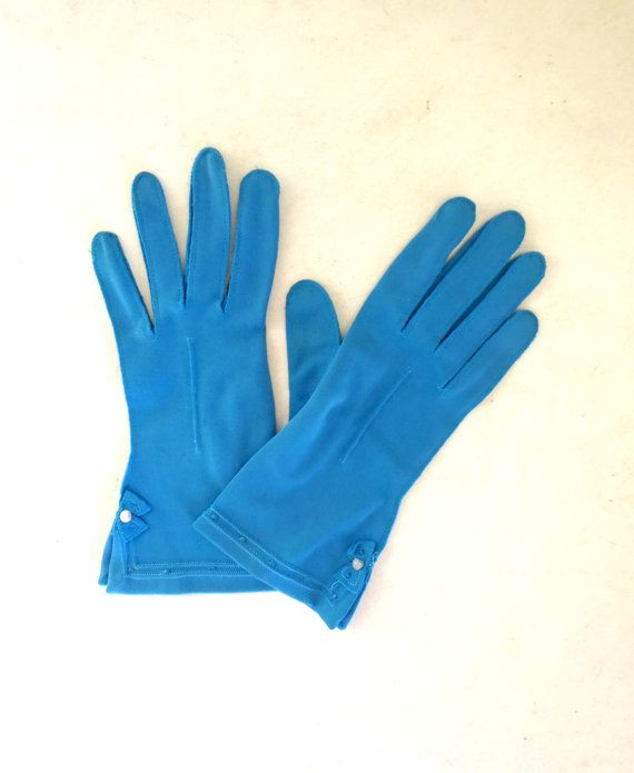 Vintage robin's egg blue gloves / feminine bow by OldSchoolSwank