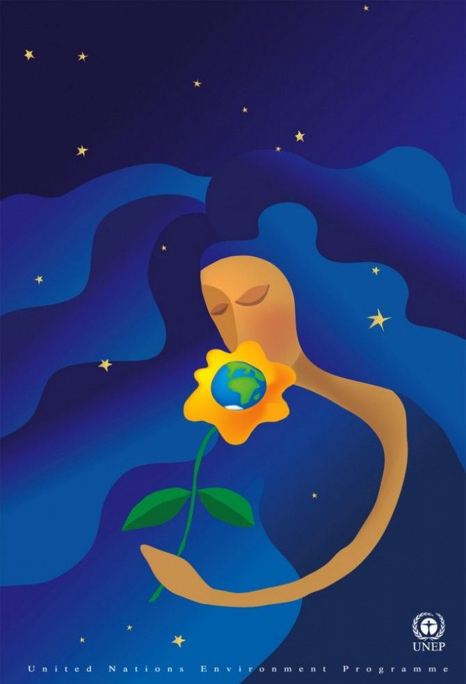 """United Nations Environment Programme Poster """"A fragile Flower"""""""