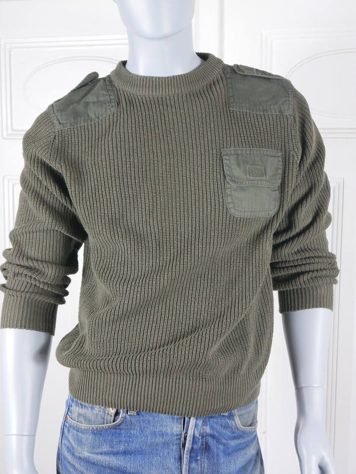 German Vintage Army Sweater, Olive Drab Green Military Jumper, Shoulder Elbow Patches, Epaulets, Livergy Crew Neck Pullover: Size M (38-40) by YouLookAmazing on Etsy