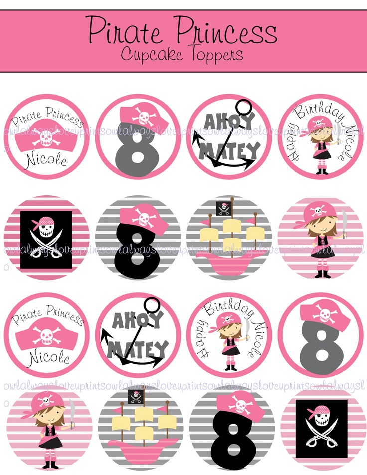 PERSONALIZED Pirate Princess Printable Cupcake Toppers -Bag Tags -2 inch Circles-  Birthday. $6.00, via Etsy.
