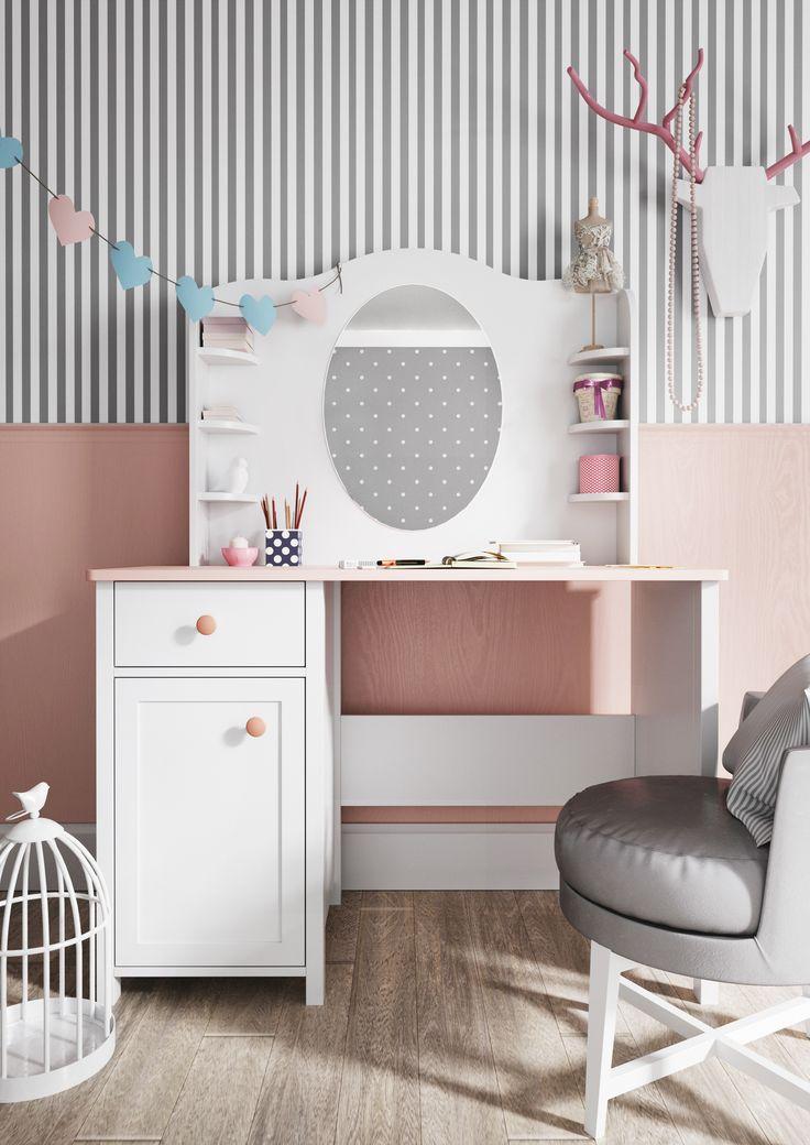 W pokoju małej Madam nie może zabraknąć toaletki! / In the small Madame's room can not miss the dressing table! :) #luna #madame #dressing #dressingtable #girlsroom #pokojdziewczynki #kidszone #kidsroom #toaletka #pokojdziecka #kidsroom #luna #kidsdecor #kidsinterior