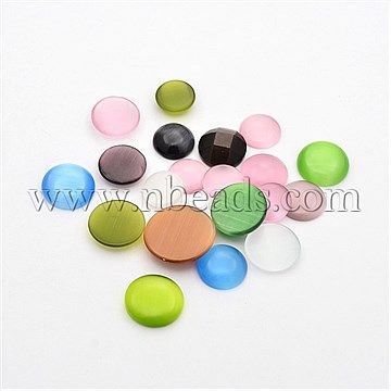Mixed Flat Round Cat Eye Cabochons, Mixed Color<P>Size: about 12~15mm in diameter, 4~4.5mm thick, about 200g/bag.<br/>Priced per 1 Bag<br/><b>Please Note</b>: Due to stock variety, color or shape of mixed products may vary from photo sample shown on our website.