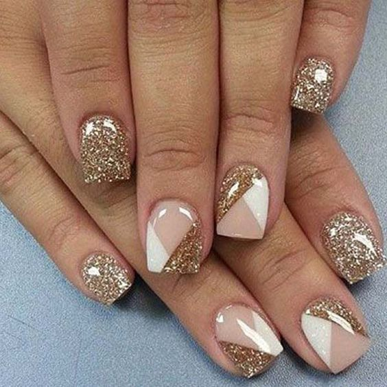 nail art inspirations | square | short | glitter | gold | shapes | simple | classy