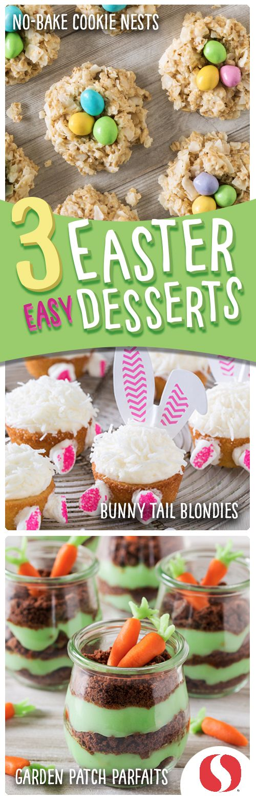 These three easy Easter desserts are almost too cute to eat… almost. From cupcakes to cookies to parfaits, these sweet treats will make Easter memorable!