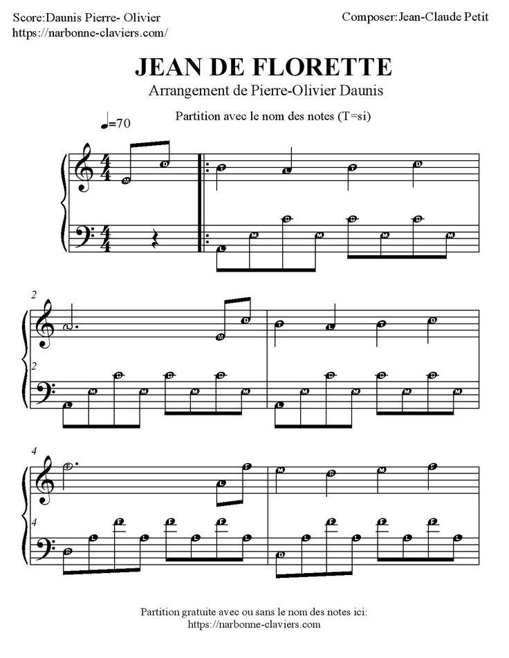 Partition gratuite pour piano de Jean de Florette partition piano avec aide à la lecture et sans aide. FREE PIANO SHEET MUSIC par Narbonne-claviers.com