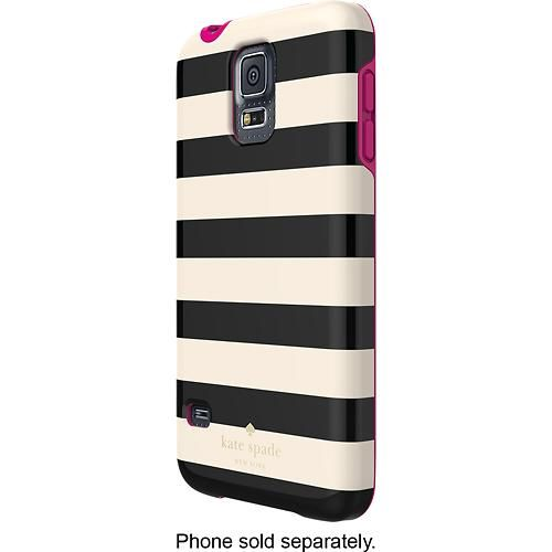 kate spade new york - Candy Stripe Hybrid Hard Shell Case for Samsung Galaxy S 5 Cell Phones - Cream/Black
