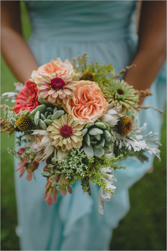 Bridesmaid bouquet with daisy, succulent, and greenery mix. #bouquet #bridesmaid #weddingchicks Floral Design: Alesa D Jager ---> http://www.weddingchicks.com/2014/05/02/3-reasons-why-wedding-buffets-rock/