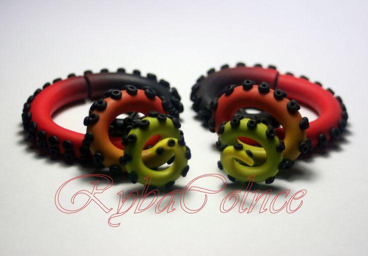Fake ear tentacle gauge - Faux gauge/Gauge earrings/Tentacle plug/tentacle earrings /spiral gauge/ fake piercing by RybaColnce on Etsy