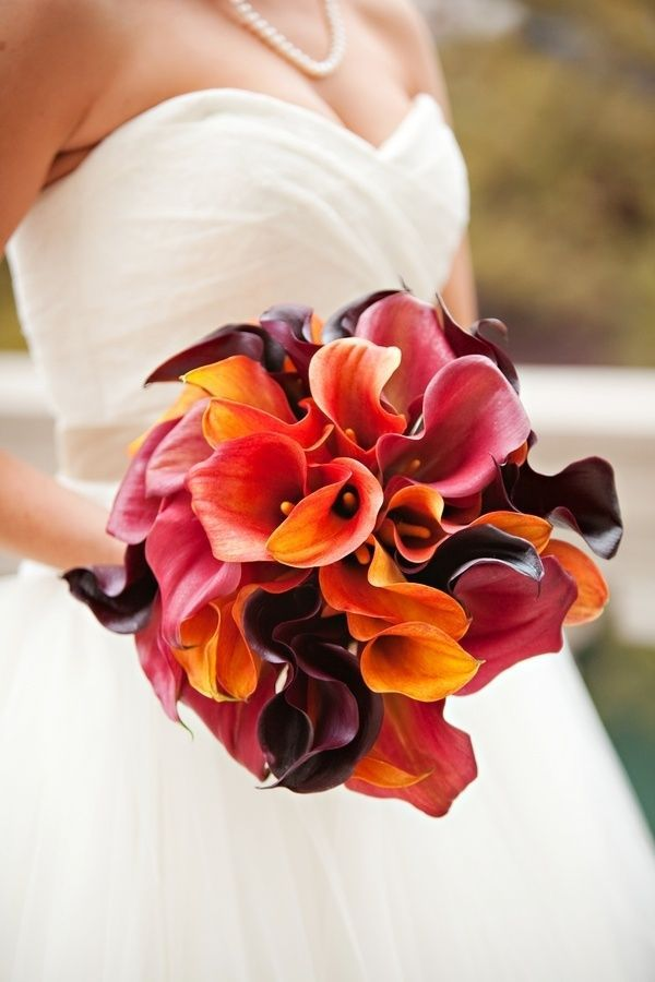Calla Lily Wedding Bouquet: White calla lilies became popular when Downton Abbey brides carried them down the aisle, however the colorful ones are next level. So extremely vibrant are their hues and so elegant their shape that fall brides will have a hard time denying themselves at least a few calla lilies in their bouquet or wedding centerpieces.