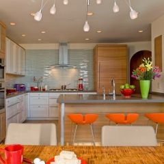 HouzzKitchens Colors, Glasses Tile, Contemporary Kitchens, Kitchens Ideas, Kitchens Contemporary, Colors Kitchens, Neon Colors, Bar Stools, Modern Kitchens