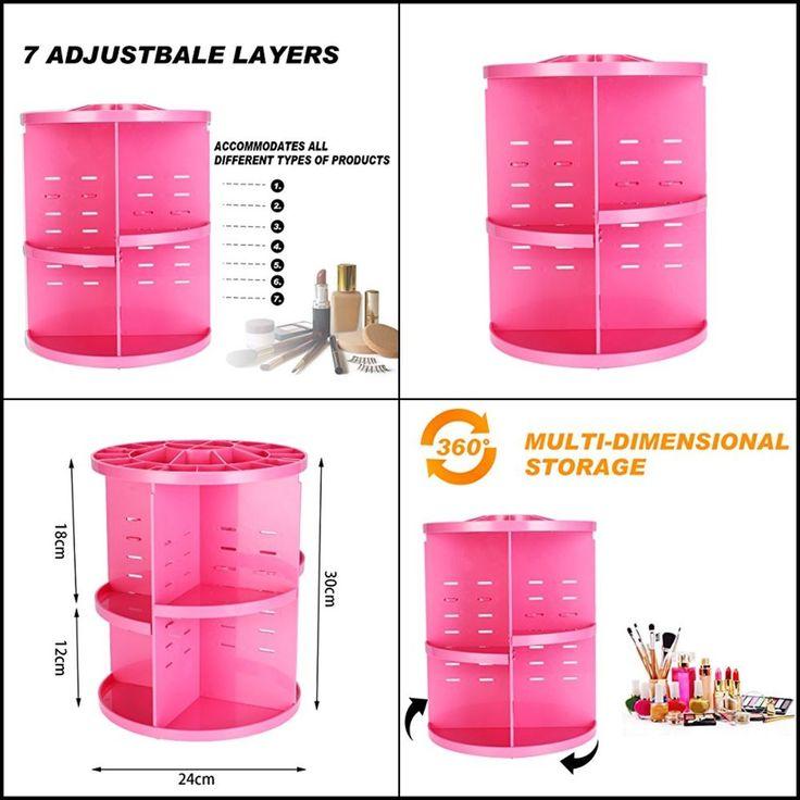 360 Degree Rotating Makeup Organizer Adjustable Spinning Cosmetic Storage Pink #ELOKI