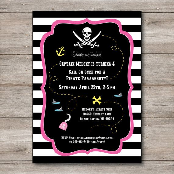 Girl's Pirate Invitation with Editable Text Printable by Punkyprep