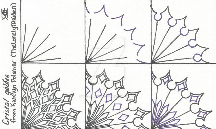 I used black and purple Sharpie Pens on a 3x5 note card. This pattern is my own. I think it came out really well, and I'm very proud of it! The name,Cristal Gelées,is French for Crystal...