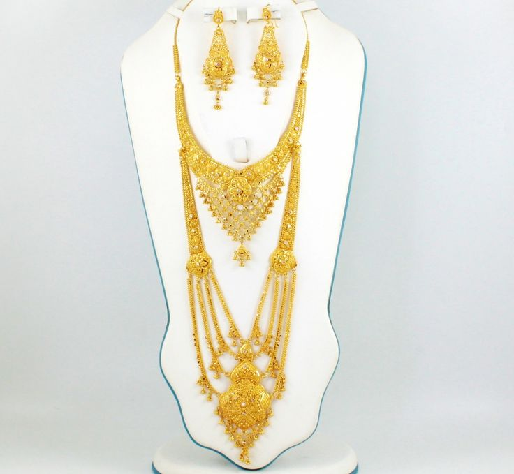 Long Gold Necklace Set For Wedding