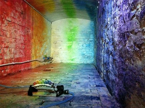 A Paint-Loaded Sprinkler Covers Any Space in Rainbows: Edwin Deen, Color Art, Rooms Art, Rainbows Color, Street Art, Liquid Rainbows, Art Installations, Paintings Color, Lights Wall