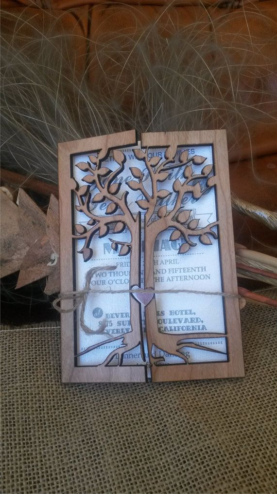 This wood Wedding Invitations are laser cut and engraved.They are made from Cherry wood. The wedding Invitation looks really amazing and your guests will be impressed when they see it .This is great souvenir from your wedding. I think , that the engravement on the wood makes beautiful contrast and create great accent of the Wedding Invitation .I can make the Wedding Invitation, that you dream of for your wedding day .