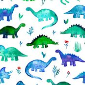 Tiny Dinos in Blue and Green on White Large Print by micklyn