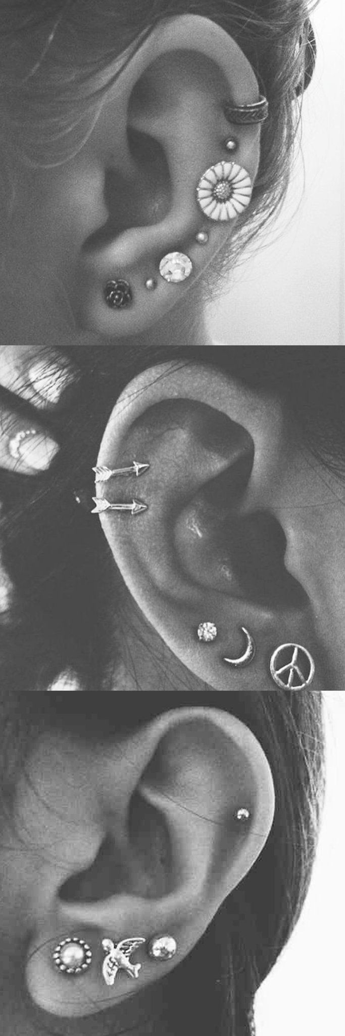 Delicate Multiple Ear Piercing Ideas for Women at MyBodiArt.com - Auricle Pinna Cartilage Helix Ring Hoop Stud Earrings 16G Arrow Sunflower Peace Moon Sun Sparrow Bird