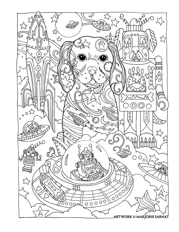 creative haven dazzling dogs coloring book by marjorie sarnat space doggie colouring pagesadult