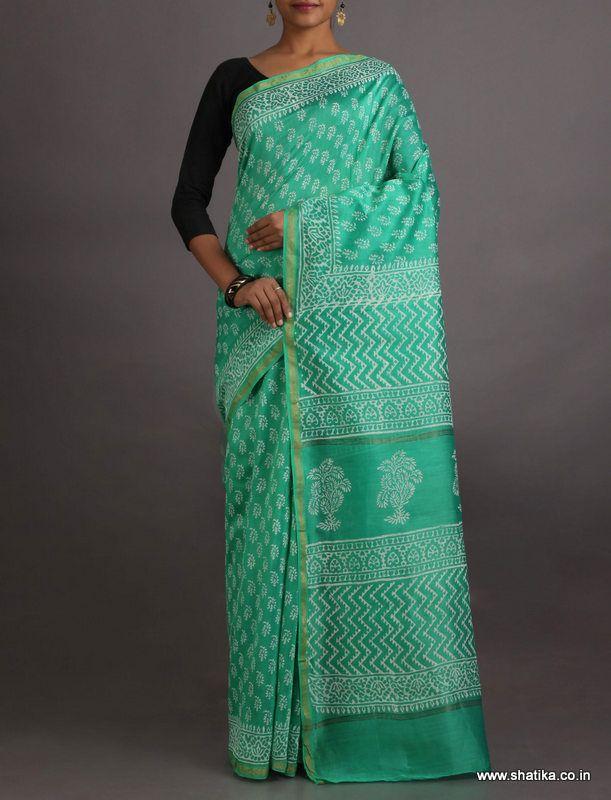 Sheela Fresh Turquoise Exclusive #BaghHandPrintSaree