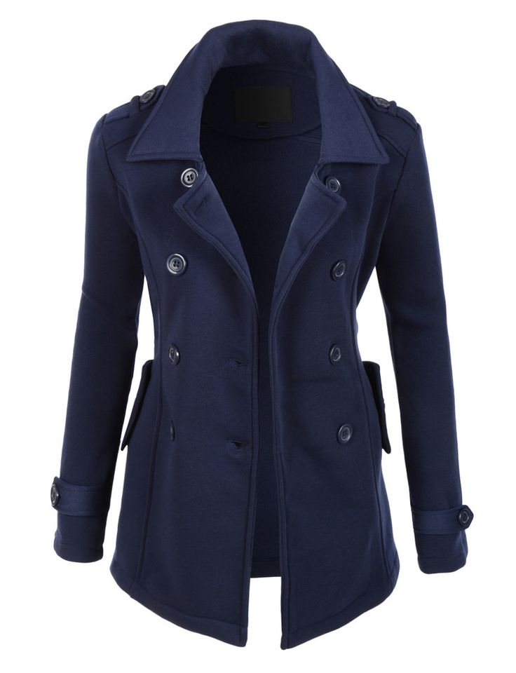 Womens Classic Double Breasted Pea Coat Jacket with ...