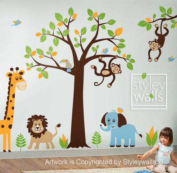 Children Wall Decal Safari tree decal Jungle Animals Decal Giraffe Lion Monkey Nursery Kids Playroom Vinyl Wall Sticker Baby