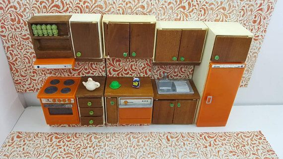Lundby Stove Fridge Dishwasher Sink and Wood Counter made in England Barton Doll Furniture Kitchen Orange MCM #CarolinesHome #DollhouseToy #EcochicTeam #MinimalScratch #DollHouse #RenwalIdeal #kitchen #SuperiorMarx #BartonLundyEngland #TinLitho #dollhouse#miniatures#dolls#vintagetoys#retro#midcentury#marx#renwal#minimalscratch#etsyseller
