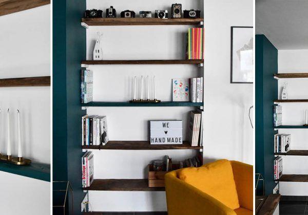 Tuto Fabriquez Facilement Une Bibliotheque D Alcove Sans Equerre Pour Gagner De La Place Decoration Maison Bibliotheque Design Etagere Bois