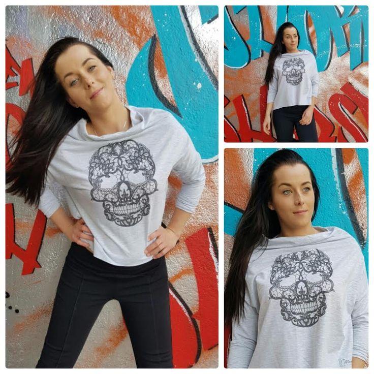 Najaarscollectie 2016: lichtgrijs shirt met skull