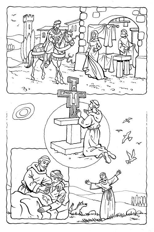 Sint Franciscus - kleurplaat van sleutelmomenten uit zijn leven