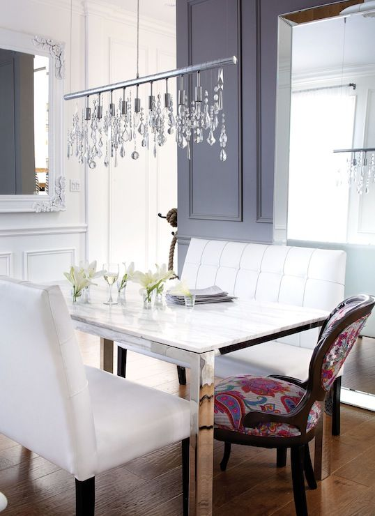 .loving this dining bench with the high back!