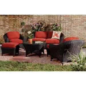 Martha Stewart Living Lake Adela Charcoal 6 Piece All Weather Wicker Patio  Seating Set With Spice Cushions