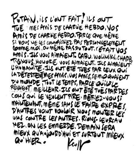 Dessin de Pierre Kroll du 8.01.2015