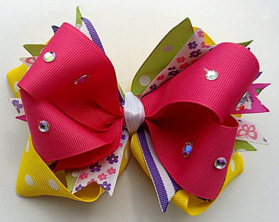 """OTT stacked boutique hairbow 6"""" X 4"""", handmade bow, XL bow, cheer bow, hot pink, flowers, jewels, yellow dots, summer ponytail, OOAK"""