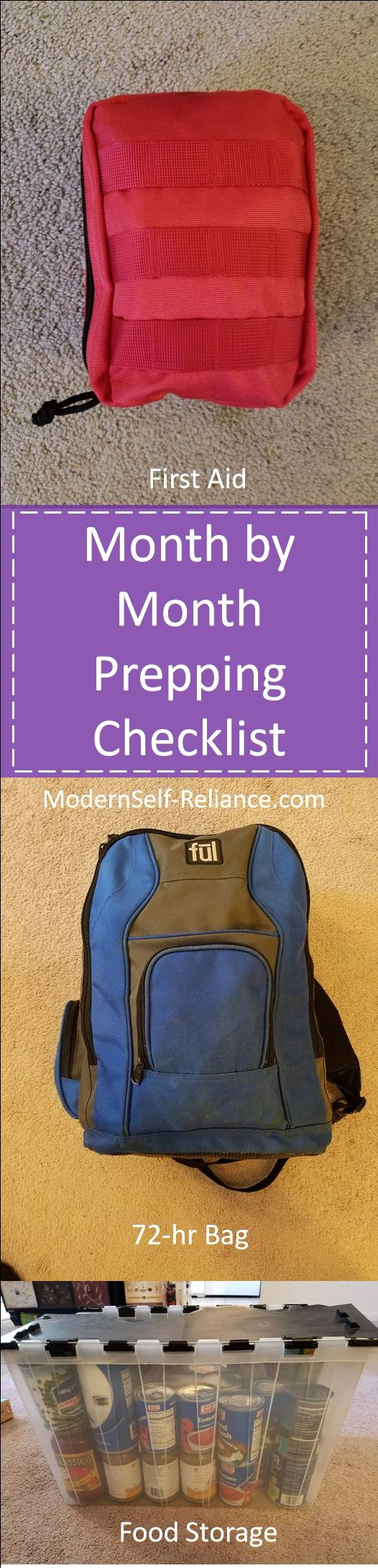 Month to Month guide for checking your preparedness items. First Aid Kit, 72-hr bag, food storage, water storage.