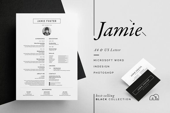 Resume/CV - Jamie by bilmaw creative on @creativemarket Ready for Print Resume template examples creative design and great covers, perfect in modern and stylish corporate business. Modern, simple, clean, minimal and feminine layout inspiration to grab some ideas.