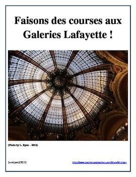 Have your students do authentic on-line shopping by visiting Galeries Lafayette in Paris, France! This multi-building department store has something for everyone! Their on-line store includes fashions for everyone and so this internet activity focuses on shopping and making imaginary purchases on-line from their